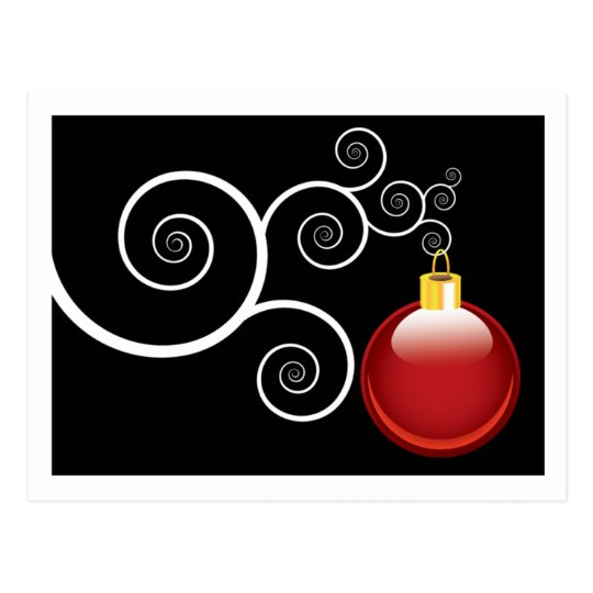 Stylish Red Christmas Ornament Xmas Holiday Postcard