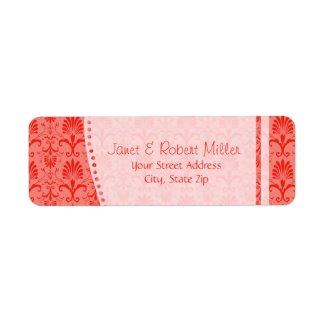 Stylish Red Damask Return Address Label