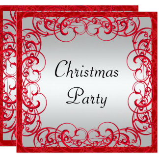 Stylish Red Flourishes & Swirls Christmas Card
