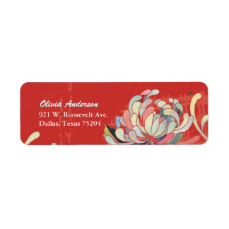 Stylish Red Flower Simple & Cute Address Labels