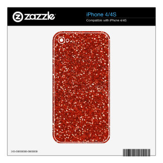 Stylish  Red Glitter Decals For The iPhone 4
