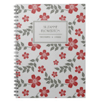 Stylish Red Gray Flowers and Leaves Personalized Notebook