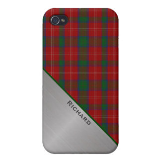 Stylish Red & Green Plaid & Aluminum Look iPhone 4 Covers