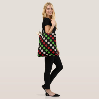 Stylish Red Green White Dots Tote Bag