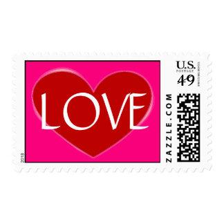Stylish Red Heart Rose Love Wedding Postage
