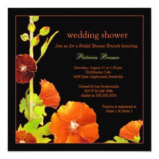 Stylish Red Hollyhocks Black Wedding Shower Card