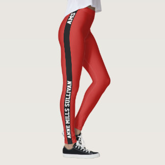 stylish red leggings with name & initials