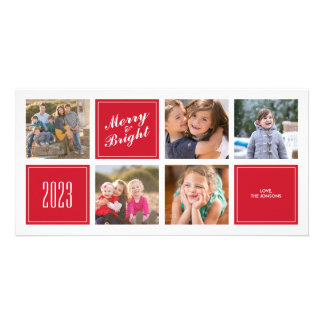 Stylish Red Merry Bright 5 Collage Photo Card