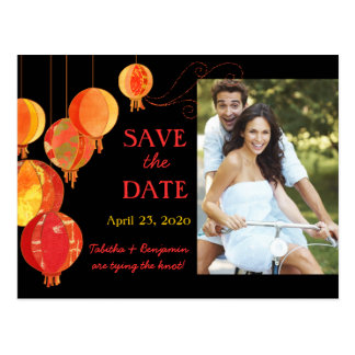 Stylish Red Paper Lanterns Photo Save the Date Post Card