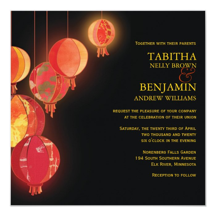 Together With Their Parents Wedding Invitation: Stylish Red Paper Lanterns Wedding Card