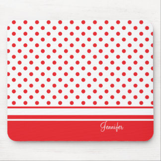 stylish red polka dots mouse pad