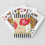 "Stylish Red Poppy Floral Black Stripes With Name Playing Cards<br><div class=""desc"">A stylish floral deck of playing cards with red poppy flowers etched in gold against a vintage handwritten background. This beautiful flower-themed case is set against a trendy black and white striped pattern and can be personalized by adding your name. Flat printed image,  NOT actual gold.</div>"