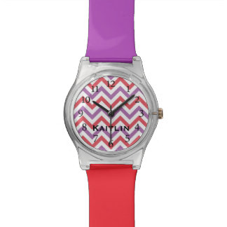 Stylish Red & Purple Chevron Personalized Watch