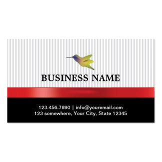 Stylish Red Ribbon Hummingbird Business Card