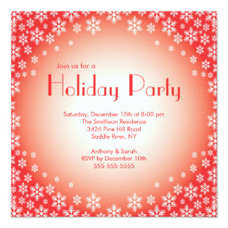 "Stylish Red Snowflakes Holiday Party Invitation 5.25"" Square Invitation Card"