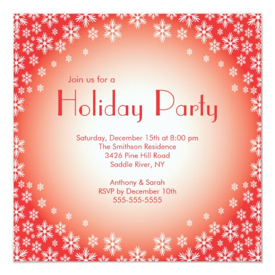 Stylish Red Snowflakes Holiday Party Invitation