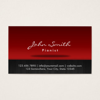 Stylish Red Stage Pianist Business Card
