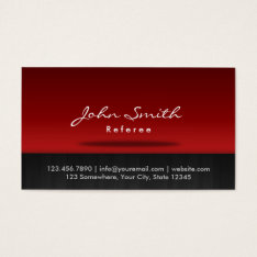 Stylish Red Stage Referee Business Card at Zazzle