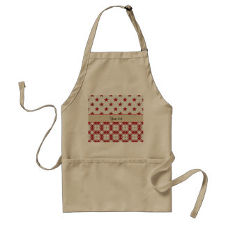 Stylish Red Stars & Checkers Adult Apron