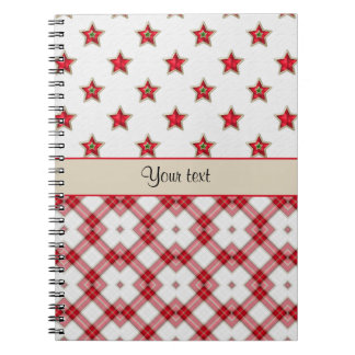 Stylish Red Stars & Checkers Notebook