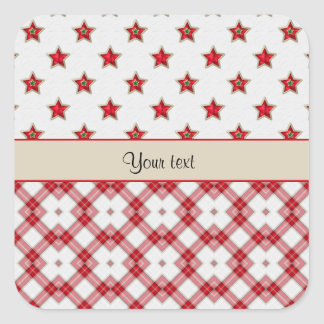 Stylish Red Stars & Checkers Square Sticker