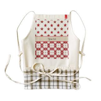 Stylish Red Stars & Checkers Zazzle HEART Apron