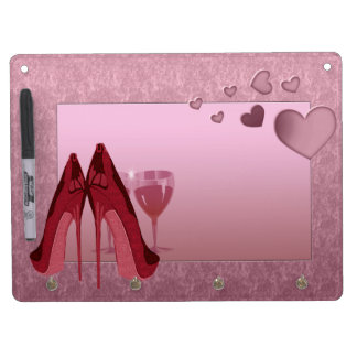 Stylish Red Stiletto, Cocktails and Hearts Art Dry-Erase Whiteboard
