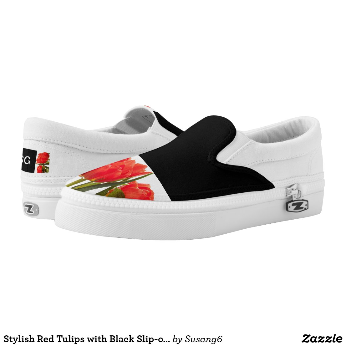 Stylish Red Tulips with Black Slip-on Sneakers