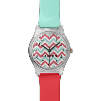 Stylish Red & Turquoise Chevron Personalized Watch