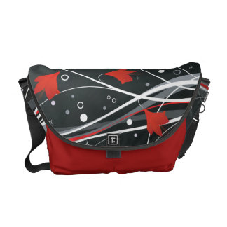 Stylish Red Vector Flowers & Swirls Courier Bag