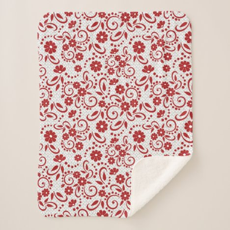 Stylish Red whimsy daisies Sherpa Blanket