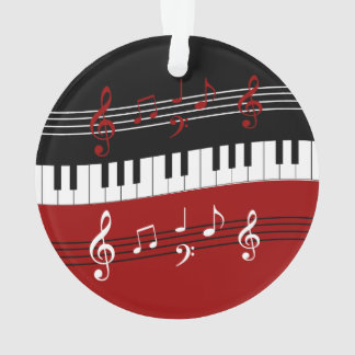 stylish red white black piano keys and notes