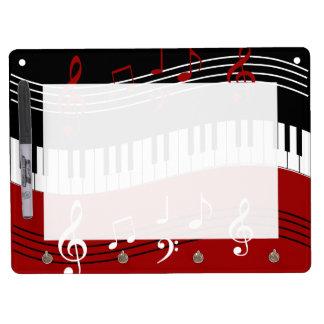Stylish red white black piano keys and notes dry erase whiteboards