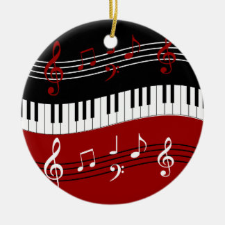 stylish red white black piano keys and notes christmas ornaments