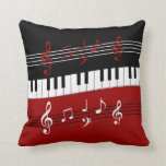stylish red white black piano keys and notes throw pillows