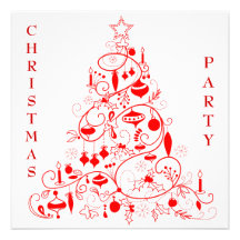 Stylish Red & White Christmas Party Personalized Announcements