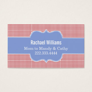 Stylish Red & White Gingham Mommy Play Date Card