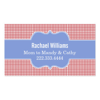 Stylish Red & White Gingham Mommy Play Date Card Business Card