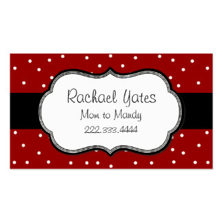 Stylish Red & White Polka Dot Mommy Card Business Card Template