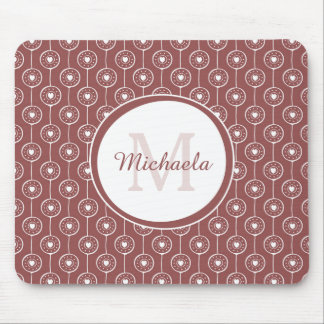 Stylish Reddish Brown Hearts Monogram With Name Mouse Pad