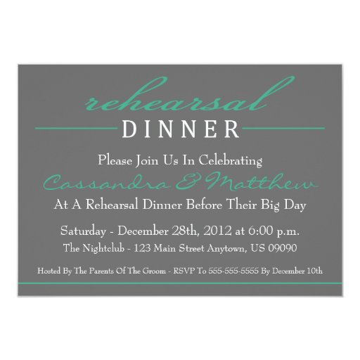 "Stylish Rehearsal Dinner Invitations (Dark Green) 5"" X 7"" Invitation Card"