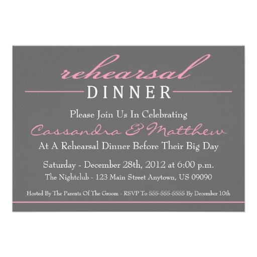 "Stylish Rehearsal Dinner Invitations (Pink) 5"" X 7"" Invitation Card ..."