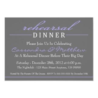 "Stylish Rehearsal Dinner Party Invitation (Purple) 5"" X 7"" Invitation Card"