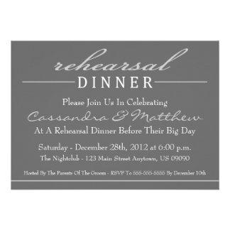 Stylish Rehearsal Dinner Party Invitation (Silver)