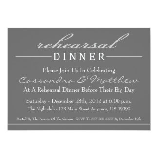 "Stylish Rehearsal Dinner Party Invitation (Silver) 5"" X 7"" Invitation Card"