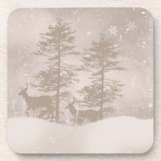 Stylish Reindeer In The Woodland Snow Scenery Coaster