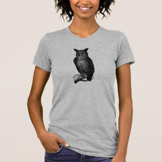 Stylish Reto Black Great Horned Owl T-Shirt