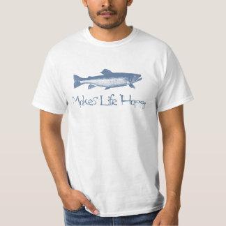 Stylish Retro Blue Fish Happy Fishing T-Shirt