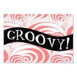 "Stylish Retro Coral Galaxy Swirl Groovy Invitation 3.5"" X 5"" Invitation Card"
