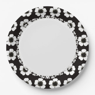 Stylish_Retro-Cottage-Flowers-Black-White_ Paper Plate